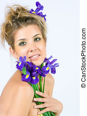 Fresh face with irises - Beautiful fresh lady with bright...