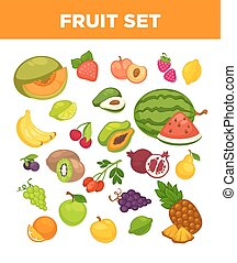 Fresh farm fruits and berries vector isolated icons set