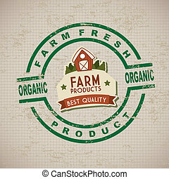 fresh farm label over lineal background vector illustration