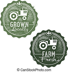Fresh Farm Locally Grown Stamps - Two distressed farm fresh...