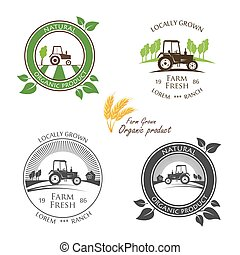 Fresh Farm Produce and logo tractor - vector illustration.