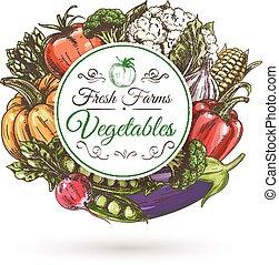 Fresh farm vegetables badge, sketch style