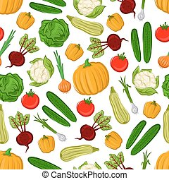 Fresh farm vegetables seamless pattern background
