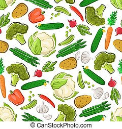 Vegetables seamless background. Vegetarian wallpaper with pattern vector icons of fresh farm carrot, asparagus, cucumber, potato, broccoli, radish, cauliflower, pea, garlic, pepper