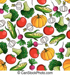 Fresh farm veggies seamless pattern