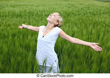 Fresh female - Happy fresh female at Greenfield in a...