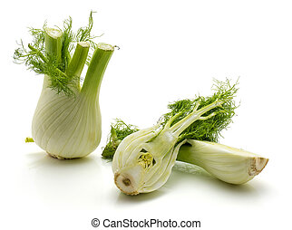Fresh fennel isolated on white - Sliced florence fennel ...