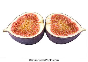 Fresh fig cut in two