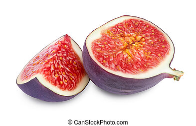 Fresh fig slices fruit isolated on white background