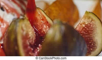 Fresh Figs cutting with a knife in 4k - Fresh Figs cutting...