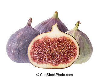 Fresh figs, half and whole, isolated on white background, close up. Food photo