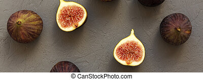Fresh figs on gray background, top view. Overhead, from above.