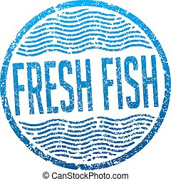 Fresh fish blue grunge style rubber stamp