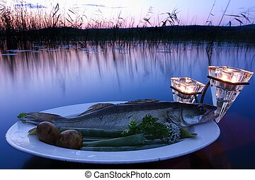 Fresh fish catch on a plate