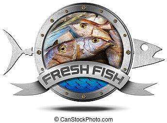 Fresh Fish - Metal Icon - Metallic icon with metallic fish...