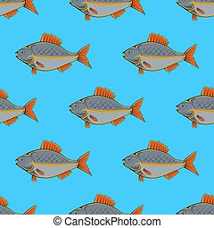 Fresh Fish Seamless Pattern