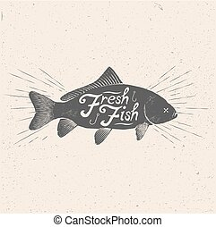 Fresh Fish. Vintage styled vector illustration of the fish.