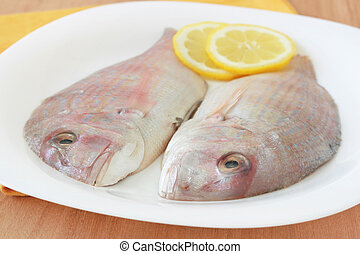 fresh fish with lemon on a plate