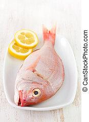 fresh fish with lemon on dish