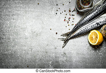 Fresh fish with spices and lemon.
