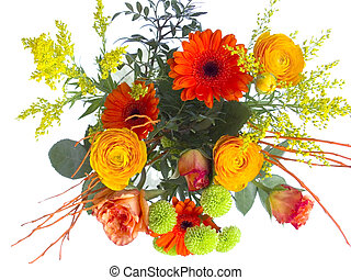 flower bouquet - fresh flower bouquet isolated on white...
