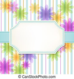 Fresh stripe flower background with white label. Invitation card. Gradients, Transparency contained.