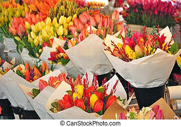 Fresh flowers at market