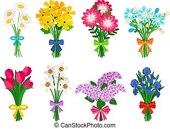Fresh flowers bouquets. Summer bouquet set isolated, woman flowers gift, tulips and daisies, lilacs and daffodils spring bunches