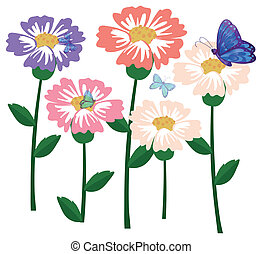 Fresh flowers with butterflies