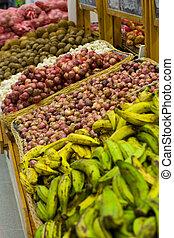 fresh food at the supermarket.