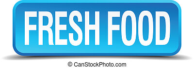 Fresh food blue 3d realistic square isolated button