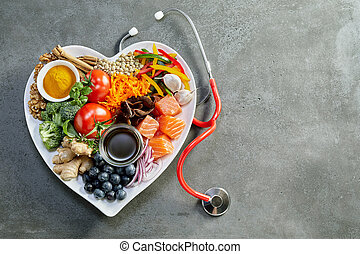Fresh food for a healthy heart with a stethoscope