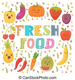 Fresh food. Healthy lifestyle. Cute happy fruits and vegetables in vector. Healthy food concept card.eps