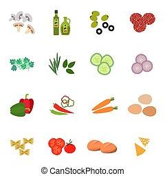 Fresh food icon set flat style