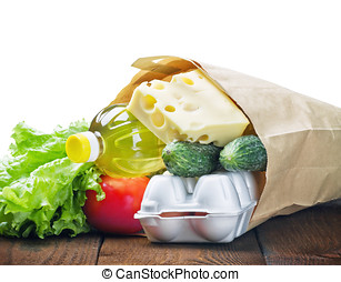fresh food in a paper bag