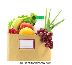 Fresh food in a paper bag with blank label