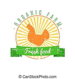 Fresh food logo with chicken label with grunge texture on old paper background