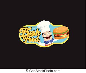Fresh Food Mascot Chef Vector Illustration