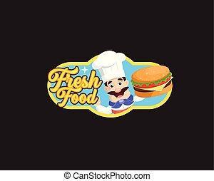 Fresh Food Mascot Chef Vector Illustration