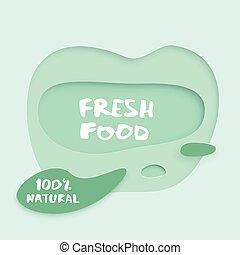 Fresh Food paper cut banner. Vector illustration.
