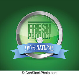 fresh food product shield of approval illustration