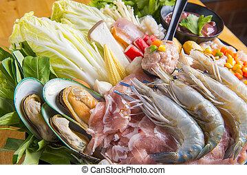 Fresh food to make shabu
