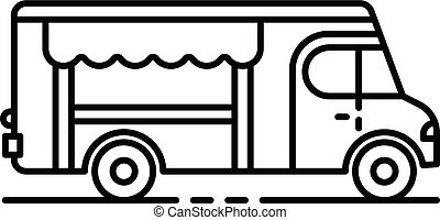 Fresh food truck icon, outline style