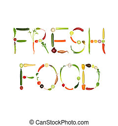 Vegetable selection spelling the words fresh food, over white background.