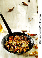Fresh forest mushrooms from an autumn harvest