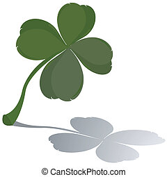 Fresh four leaf clover with reflection