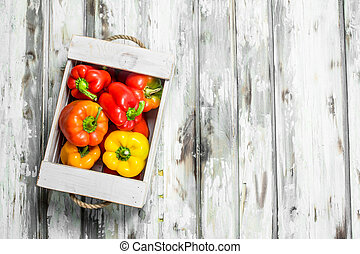 Fresh fragrant pepper in the box.