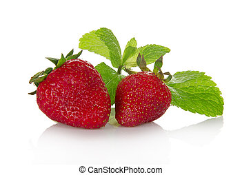 Fresh fragrant strawberry and the spearmint leaves, isolated...