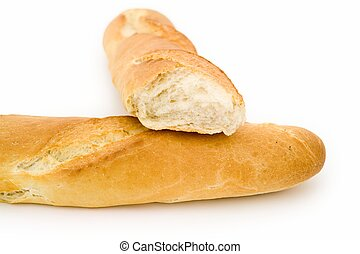 bread - fresh French bread on a white background