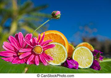 Fresh fruit and flowers on banana leaf